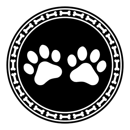 Paw Print with Bone dog