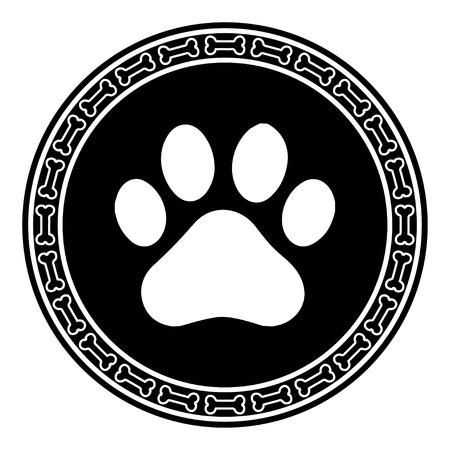 Paw Print avec un chien osseuse Banque d'images - 38093797