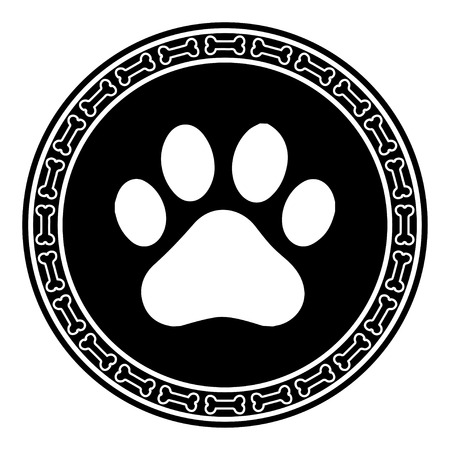 dog track: Paw Print with Bone dog