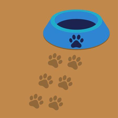 dog bowl: Dog Bowl with Paw Print Illustration