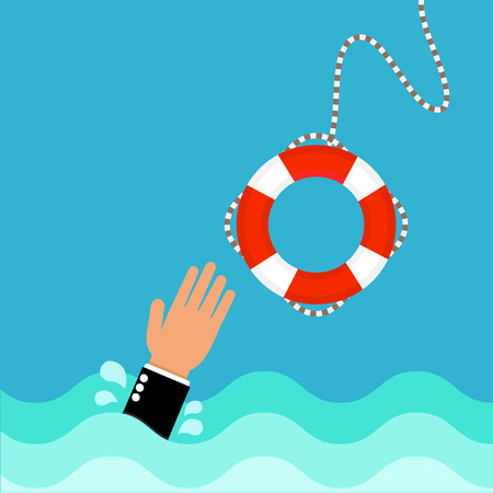 business hand: Lifebuoy with  business hand Illustration
