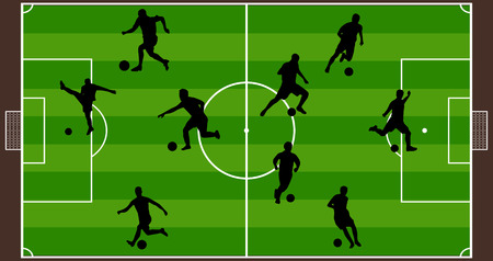 soccer fields: Soccer player silhouette with soccer fields