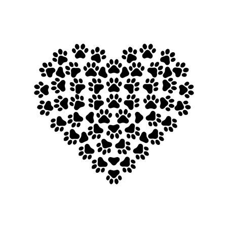 animal print: Las impresiones de la pata con el corazón
