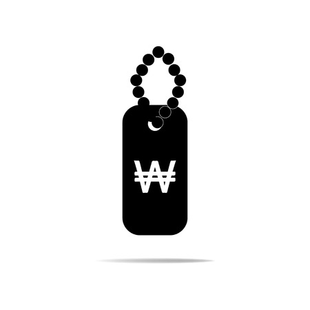 renminbi: Dog Tags Icon with Won Sign Illustration