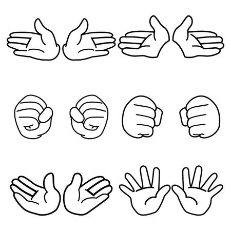 Cartoon hand Outline Vector Illustratie