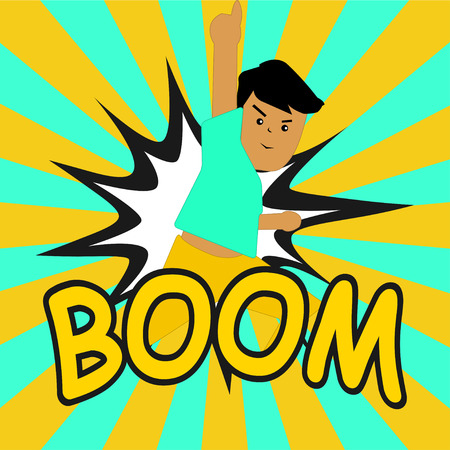 BOOM ! Comic speech bubbles in pop art style with Boy Vector