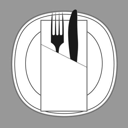 plate: knife fork plate and napkin Illustration