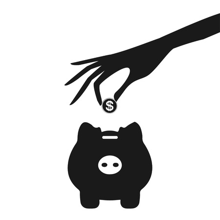 piggy bank and hand with coin grey icon Vector