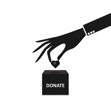 business hand putting Heart into the box donation Vector