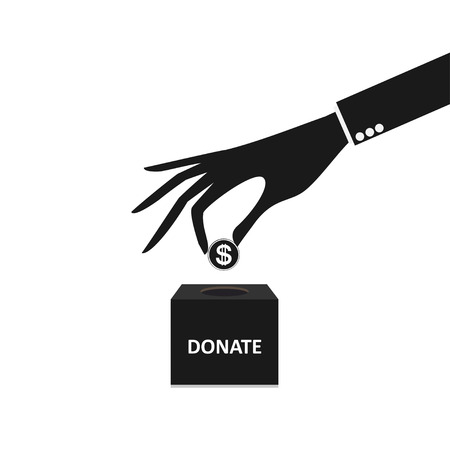 business hand putting coin into the box donation Vector