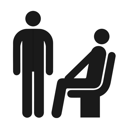 seating: seating and standing man waiting room symbol