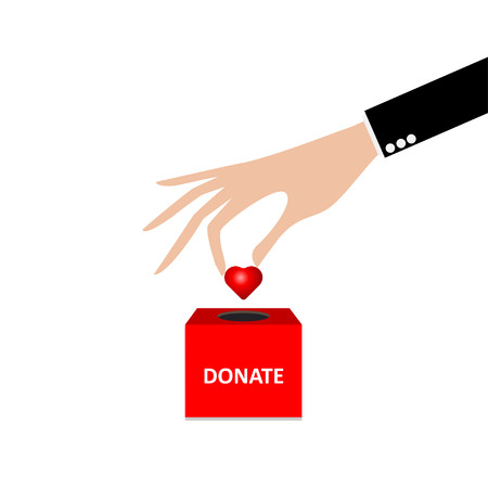 business hand putting Heart into the box donation