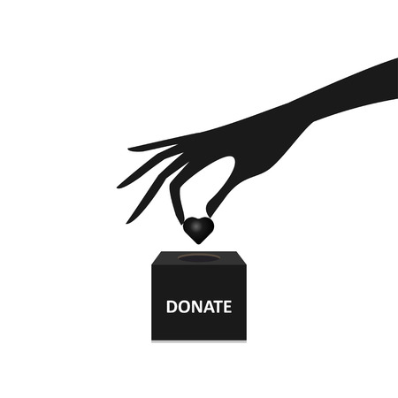 fundraiser: hand putting Heart into the box donation Illustration