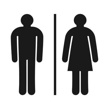 man and women wc sign: toilet wc restroom sign