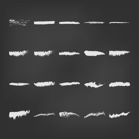 white lines: linee bianche linea vettoriale gesso illustrazione nero carbone disegno mano astratto disegnato elemento di sfondo disegno del grunge set schizzo isolato silhouette arte telaio lavagna carbone