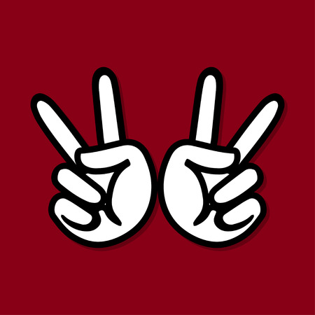 hand pointing: hand pointing two fingers Sign Illustration