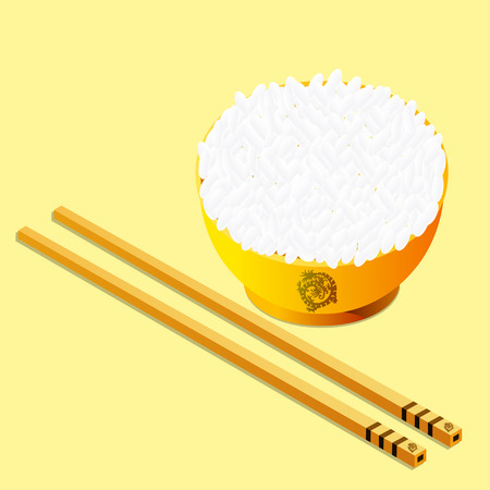 chopstick: Chopstick with rice on the bowl Illustration