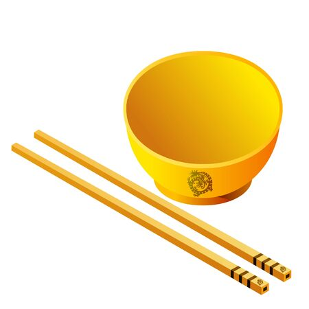 chopsticks: Chopsticks with Bowl Illustration