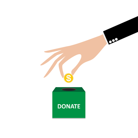 coin box: business hand putting coin into the box donation