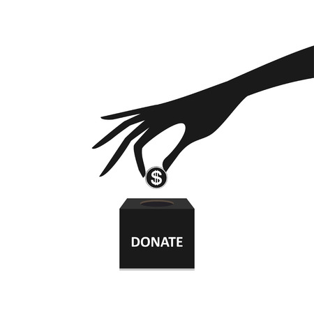 coin box: hand putting coin into the box donation