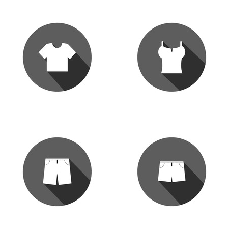 swimming trunks: Clothes icons. Tshirt and pants with shorts signs. Swimming trunks symbol