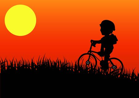 cyclist silhouette: cyclist silhouette at sunrise