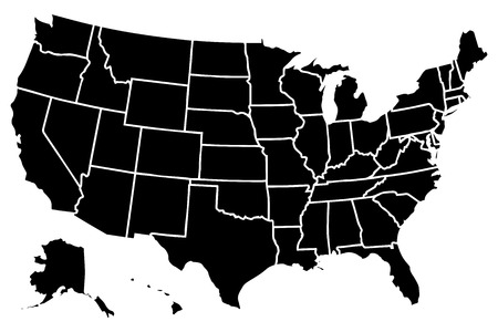 High detailed vector map  United States 일러스트