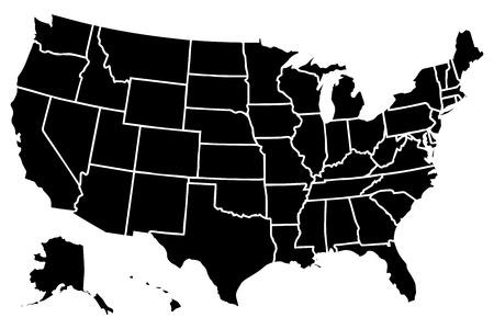 bandera estados unidos: Alto detallado mapa vectorial Estados Unidos