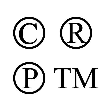 infringement: Set of infringement symbols Illustration