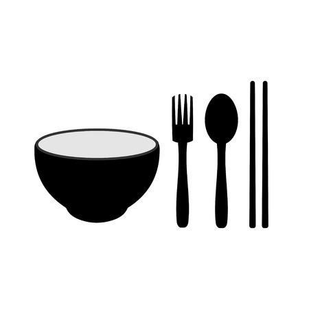 kom eetstokjes vork en lepel