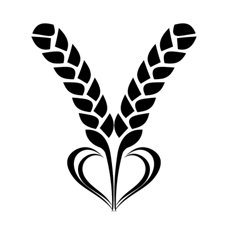Wheat Ears Icon with Heart element Vector