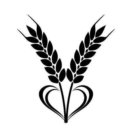 Weizen-Ohren-Symbol mit Herz Element