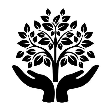 Hand holding Tree  イラスト・ベクター素材