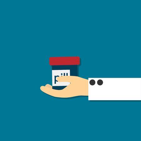 hand holding pill bottle Vector