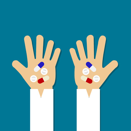 Pills and Capsule on hand Vector