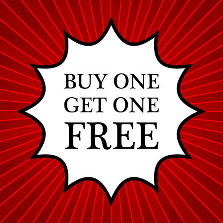 buy one get one free: Comic book explosion with text buy one get one free Illustration