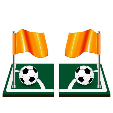 Soccer ball icon Soccer Field and Flag. Vector