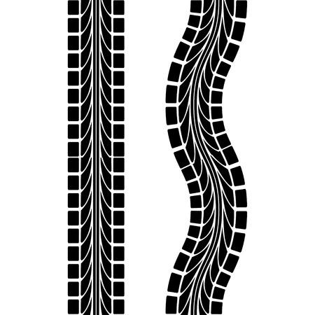 cars on road: Tire Track Illustration