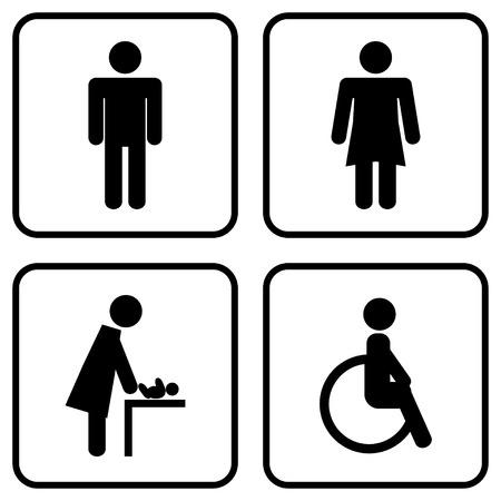 wc: Männliche und weibliche WC-Symbol Illustration