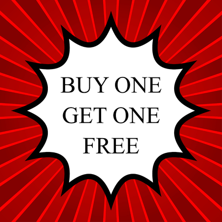 buy one: Comic book explosion with text buy one get one free Illustration