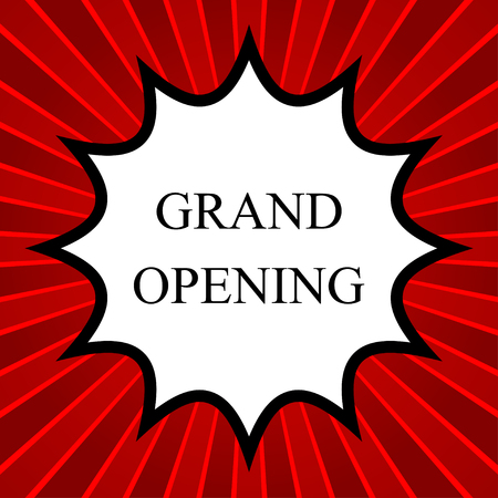 job opening: Comic book explosion with text Grand opening Illustration