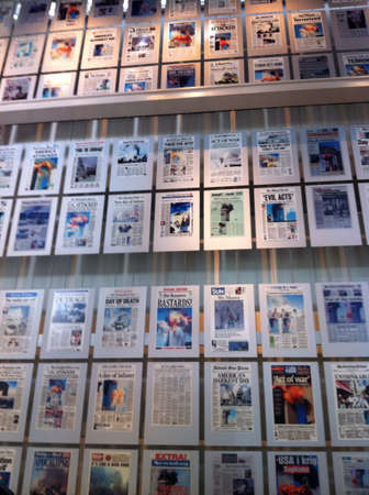 Newspapers covering the disaster of 911.