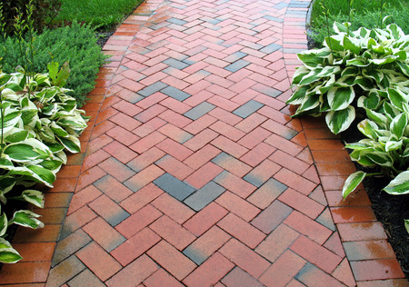 pavers: Red Brick Sidewalk