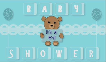 balloons teddy bear: Blue Baby Boy with Teddy Bear