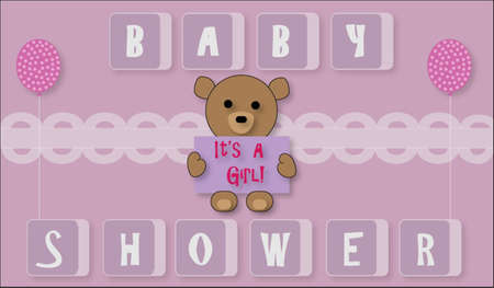 baby bear: Pink Baby Girl with Teddy Bear