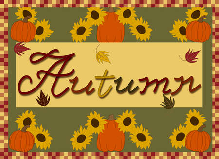 Autumn Illustration with sunflowers and pumpkins Иллюстрация