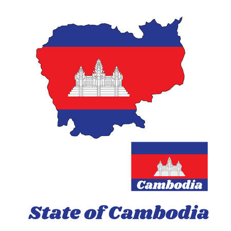 Map outline and flag of Cambodian in blue red and white color with black line of Angkor wat and name text of Cambodia. Illustration