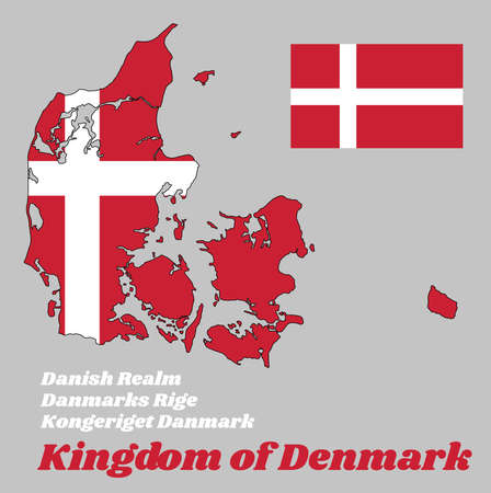 Map outline and flag of Denmark, it is red with a white Scandinavian cross that extends to the edges of the flag, with name text Kongeriget Danmark, Danmarks Rige, Kingdom of Denmark and Danish Realm.