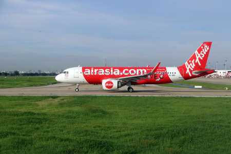 Don muang, Bangkok, Thailand, June 6, 2018 : Airbus A320 neo of of Thai Airasia parking on the runway to prepare for flight. Editorial