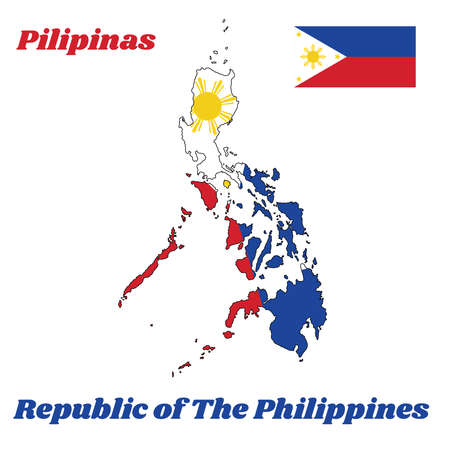 Map outline and flag of Philippines, a horizontal bicolor of blue and red; with a white equilateral triangle based at the hoist containing three, 5-pointed gold stars at its vertices, and an 8-rayed gold sun at its center, with name text of Republic of the Philippines.